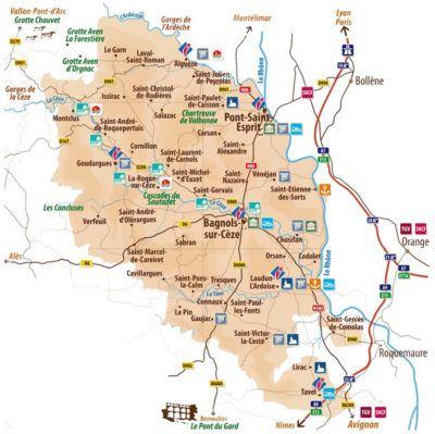 Les villes et villages autour de Saint André d'Olérargues